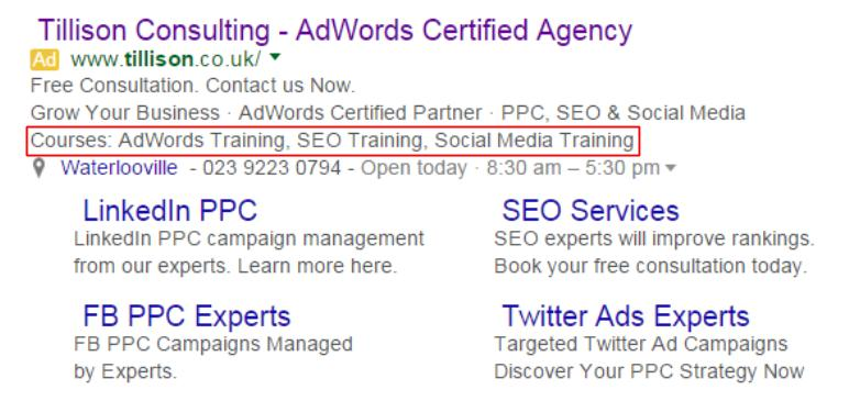AdWords Ad Extensions - Snippet Extensions