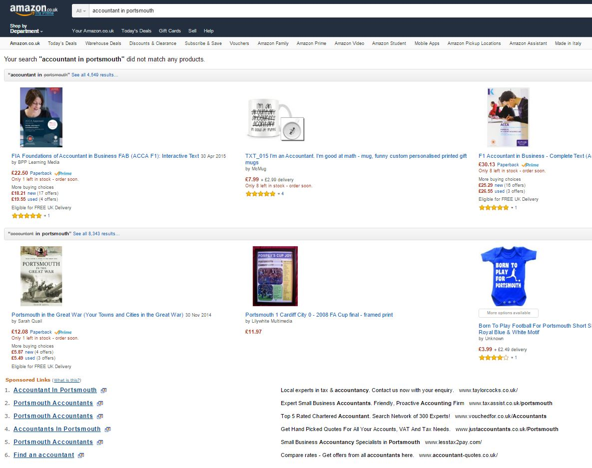 Google search results on Amazon