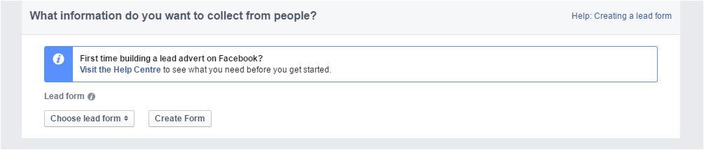 Facebook Lead Generation Ads - Choose a Lead Form