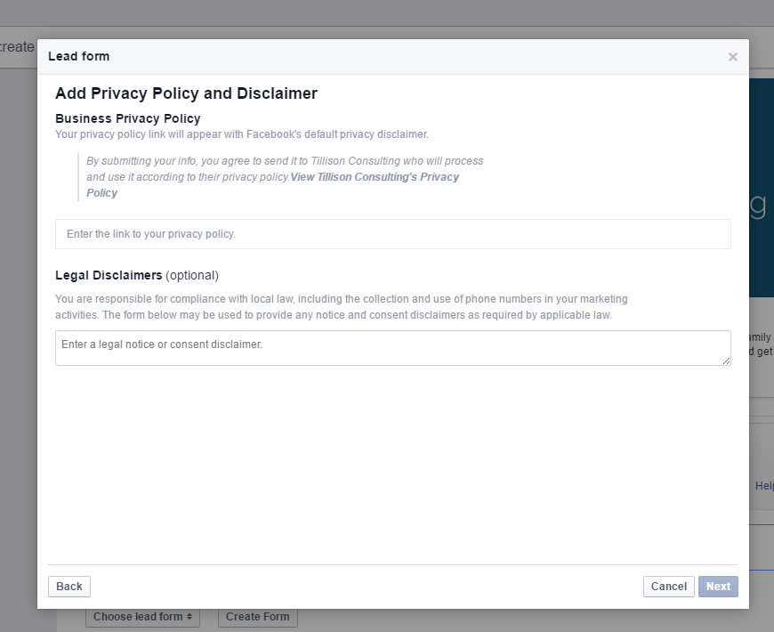 Facebook Lead Generation Ads - Privacy Policy