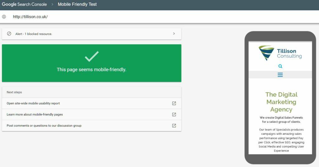 Google's Mobile Friendly Testing Tool
