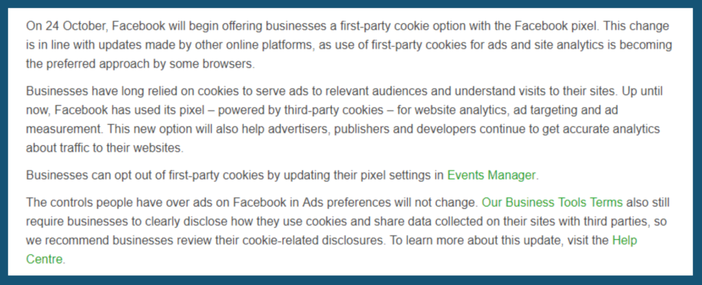 Facebook First-Party Cookies - Tillison Consulting