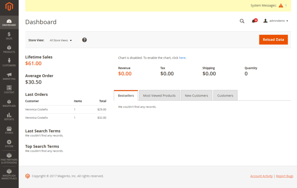 Magento 2 dashboard: Magento Best Practices - Tillison Consulting