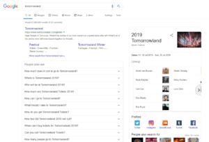 Google Search results for Tomorrowland Festival